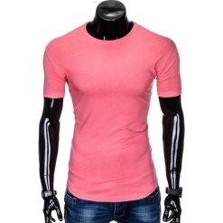 T-SHIRT MĘSKI BEZ NADRUKU S998 - RÓŻOWY. Fioletowe t-shirty męskie z nadrukiem marki KIPSTA, m, z elastanu, z długim rękawem, na fitness i siłownię. Za 19,99 zł.