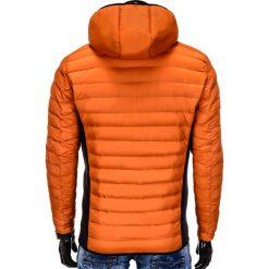 KURTKA MĘSKA PRZEJŚCIOWA PIKOWANA C291 - POMARAŃCZOWA. Brązowe kurtki męskie pikowane marki Ombre Clothing, m, z nadrukiem, z dzianiny, eleganckie. Za 79,00 zł.