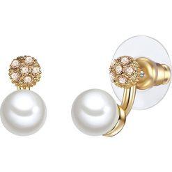 Kolczyki damskie: Pozłacane kolczyki-wkrętki z perłami muszlowymi i szklanymi kryształkami