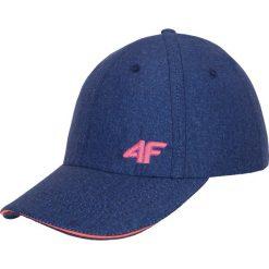 Czapka damska CAD001A - granatowy melanż. Niebieskie czapki z daszkiem damskie 4f, na lato, melanż, z materiału. Za 39,99 zł.