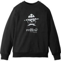 Bluza dresowa bonprix czarny z nadrukiem. Czarne bluzy chłopięce rozpinane marki bonprix, w paski, z dresówki. Za 52,99 zł.
