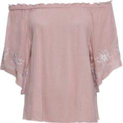 Bluzka z haftem bonprix różowobrązowo-biały. Czerwone bluzki z odkrytymi ramionami marki bonprix, z haftami. Za 59,99 zł.