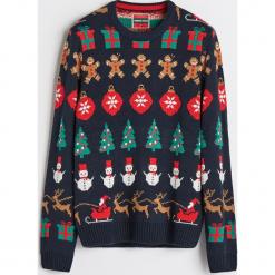 Sweter ze świątecznym motywem - Wielobarwn. Szare swetry klasyczne męskie marki bonprix, l, melanż. Za 79,99 zł.
