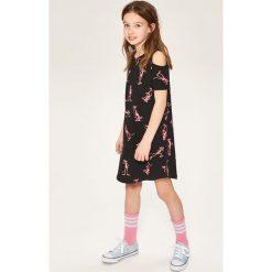 Sukienki dziewczęce: Sukienka cold shoulders różowa pantera – Czarny