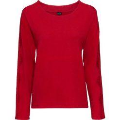 Swetry klasyczne damskie: Sweter z koronkowymi wstawkami bonprix czerwony