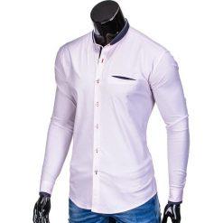 KOSZULA MĘSKA Z DŁUGIM RĘKAWEM K360 - RÓŻOWA. Brązowe koszule męskie na spinki marki Ombre Clothing, m, z aplikacjami, z kontrastowym kołnierzykiem, z długim rękawem. Za 49,00 zł.