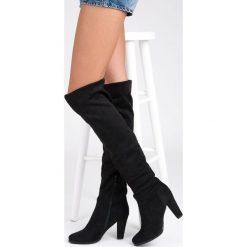 WYSOKIE KOZAKI, MUSZKIETERKI. Czarne buty zimowe damskie marki SUPER ME, na wysokim obcasie. Za 139,00 zł.