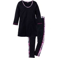 Piżamy damskie: Piżama z legginsami 7/8 bonprix czarny z nadrukiem