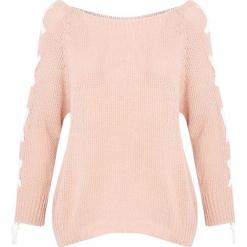 Jasnoróżowy Sweter Nine. Czerwone swetry klasyczne damskie Born2be, na jesień, uniwersalny. Za 59,99 zł.