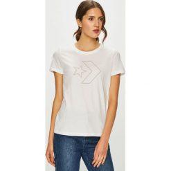 Converse - T-shirt. Szare t-shirty damskie marki Converse, m, z nadrukiem, z bawełny, z okrągłym kołnierzem. W wyprzedaży za 99,90 zł.