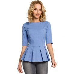 GABRIELLE Bluzka z kontrafałdą - niebieska. Czarne bluzki z odkrytymi ramionami marki Moe, z dresówki. Za 99,00 zł.