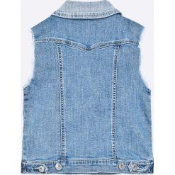 Guess Jeans - Bezrękawnik dziecięcy 118-175 cm. Niebieskie kurtki dziewczęce przeciwdeszczowe marki Guess Jeans, z aplikacjami, z bawełny, casualowe. W wyprzedaży za 219,90 zł.
