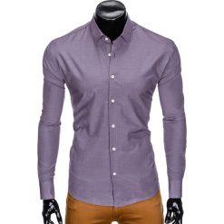 KOSZULA MĘSKA ELEGANCKA Z DŁUGIM RĘKAWEM K424 - FIOLETOWA. Brązowe koszule męskie marki Ombre Clothing, m, z aplikacjami, z kontrastowym kołnierzykiem, z długim rękawem. Za 49,00 zł.