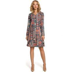 MADISON Sukienka trapezowa - boho. Szare sukienki balowe Moe, z nadrukiem, z dekoltem w serek, z długim rękawem, midi, trapezowe. Za 169,90 zł.