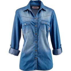 Bluzka dżinsowa z napami, długi rękaw bonprix średni niebieski. Niebieskie bluzki asymetryczne bonprix, z długim rękawem. Za 74,99 zł.