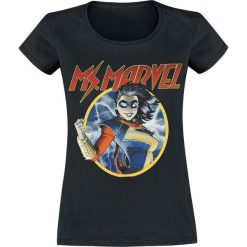 Ms. Marvel Circle Koszulka damska czarny. Czarne bluzki z odkrytymi ramionami Ms. Marvel, l, z motywem z bajki, z okrągłym kołnierzem. Za 74,90 zł.