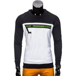 BLUZA MĘSKA BEZ KAPTURA Z NADRUKIEM B688 - GRANATOWA/BIAŁA. Białe bluzy męskie rozpinane marki Ombre Clothing, m, z nadrukiem, z bawełny, bez kaptura. Za 39,00 zł.