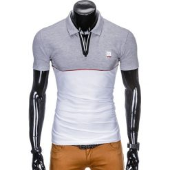KOSZULKA MĘSKA POLO BEZ NADRUKU S919 - SZARA/BIAŁA. Białe koszulki polo Ombre Clothing, m, z nadrukiem. Za 49,00 zł.