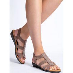 Beżowe sandały damskie z cyrkoniami QUIOSQUE. Brązowe rzymianki damskie QUIOSQUE. W wyprzedaży za 59,99 zł.