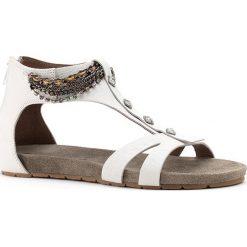 Rzymianki damskie: Skórzane sandały w kolorze białym