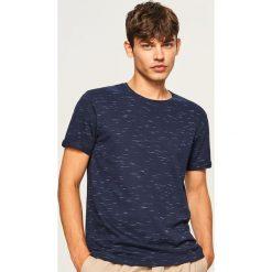 T-shirt z melanżowej dzianiny - Granatowy. Białe t-shirty męskie marki Reserved, l. Za 49,99 zł.