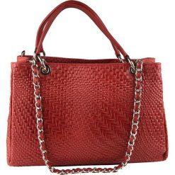 Torebki klasyczne damskie: Skórzana torebka w kolorze czerwonym – 35 x 24 x 10 cm