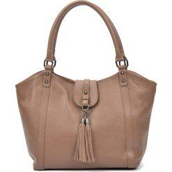 Torebki i plecaki damskie: Skórzana torebka w kolorze fango – (S)30 x (W)45 x (G)12 cm