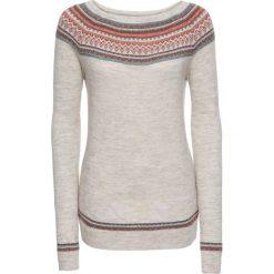 Swetry klasyczne damskie: Sweter dzianinowy bonprix beżowy