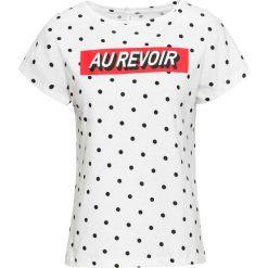 T-shirt bonprix biało-czarny w groszki. Białe t-shirty damskie bonprix, w grochy, z okrągłym kołnierzem. Za 24,99 zł.