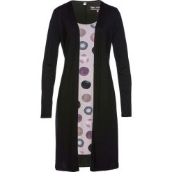 Sukienki hiszpanki: Sukienka shirtowa 2 w 1 bonprix czarno-matowy jasnoróżowy z nadrukiem