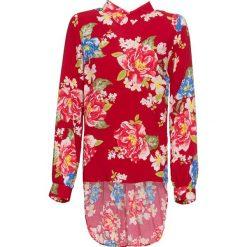 Bluzka z dłuższym tyłem z wiskozy bonprix czerwony chili w kwiaty. Czerwone bluzki longsleeves marki OLAIAN, s, z materiału. Za 74,99 zł.