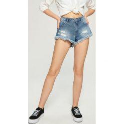 Szorty damskie: Jeansowe szorty z asymetrycznymi nogawkami – Niebieski