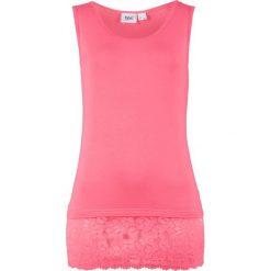 Topy damskie: Top z wiskozy z koronką bonprix pastelowy różowy