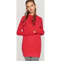 Swetry klasyczne damskie: Długi sweter – Pomarańczo