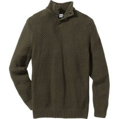 Swetry klasyczne męskie: Sweter Slim Fit bonprix ciemnooliwkowy