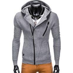 BLUZA MĘSKA ROZPINANA Z KAPTUREM B738 - SZARA. Czarne bluzy męskie rozpinane marki Ombre Clothing, m, z bawełny, z kapturem. Za 69,00 zł.