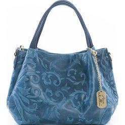 Torebki klasyczne damskie: Skórzana torebka w kolorze niebieskim – 28 x 20 x 12 cm