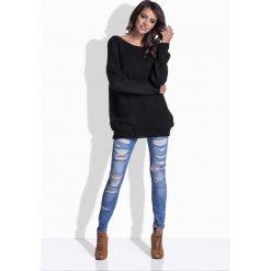 Swetry damskie: Czarny Oversizowy Sweter z Satynową Wstążką na Plecach