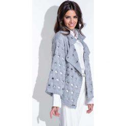 Odzież damska: Szary Sweter-Narzutka z Ażurowym Wzorem