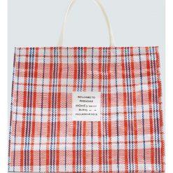 Torba shopper w kratkę z napisem. Szare shopper bag damskie Pull&Bear, w kratkę. Za 59,90 zł.