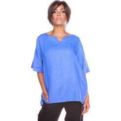 """Bluzki asymetryczne: Lniana koszulka """"Shirane"""" w kolorze niebieskim"""
