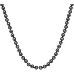 Naszyjniki damskie: Naszyjnik z pereł w kolorze antracytowym – dł. 40 cm