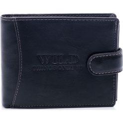 Portfele męskie: WILD skórzany modny męski portfel czerń