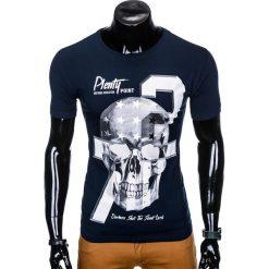 T-SHIRT MĘSKI Z NADRUKIEM S995 - GRANATOWY. Niebieskie t-shirty męskie z nadrukiem Ombre Clothing, m. Za 29,00 zł.