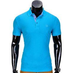 KOSZULKA MĘSKA POLO BEZ NADRUKU S837 - TURKUSOWA. Niebieskie koszulki polo marki Ombre Clothing, m, z nadrukiem. Za 39,00 zł.