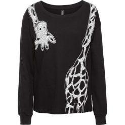 Bluza dresowa z nadrukiem żyrafy bonprix czarny. Czarne bluzy rozpinane damskie bonprix, z nadrukiem, z dresówki. Za 74,99 zł.