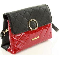 Listonoszki damskie: Pikowana torebka wizytowa – listonoszka a ' la chanell czarny z czerwonym