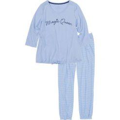 Piżamy damskie: Piżama ze spodniami 7/8 bonprix niebiesko-biel wełny