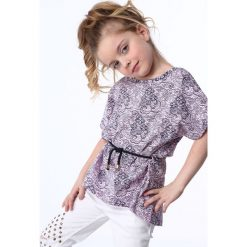 T-shirty dziewczęce: Bluzka dziewczęca z wiązaniem jasnoróżowo-granatowa NDZ8200