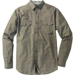 Koszule męskie na spinki: Koszula z długim rękawem Slim Fit bonprix ciemnooliwkowy w paski